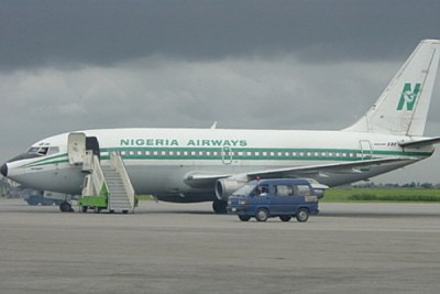 Nigeria Airways plane on tarmac.