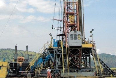 An oil rig near the shores of Lake Albert in western Uganda. Unlike Uganda which has discovered oil, Kenya's search for the resource will intensify with the beginning of drilling in the next two weeks.
