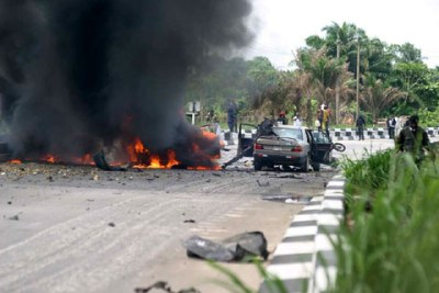 Niger-Delta based militia group MEND claims credit for the bombing outside the Vanguard Amnesty Conference in Warri