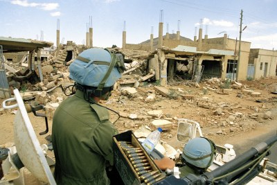 UN peacekeepers patrolling Eritrea (file photo).