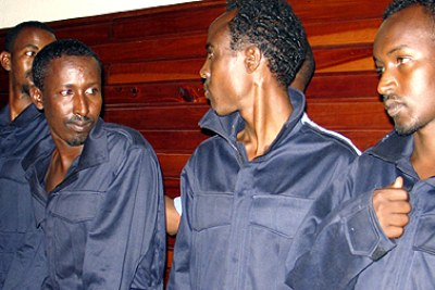 Suspected Somali pirates arraigned at a court in Mombasa.