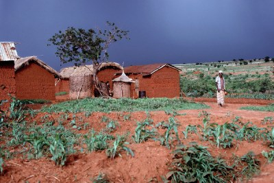 Rain clouds over a farming village near Iringa, Tanzania.