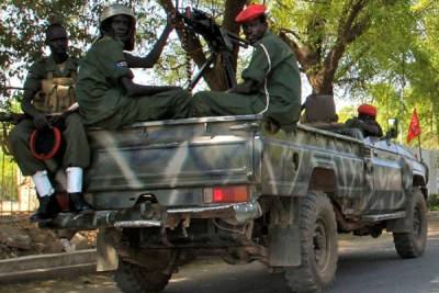 SPLA soldiers on patrol in Juba.