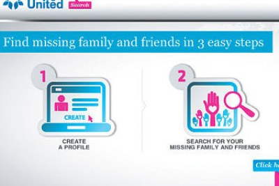 A screenshot of refunite.org Website outlining steps to finding a lost relative or friend.
