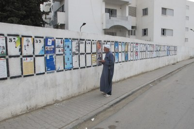 A man checks out posters of electoral lists (file photo).