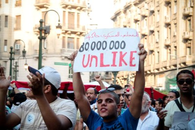 Demonstrators from a range of political backgrounds in Egypt demanding that the ruling military hand over to a civilian government.