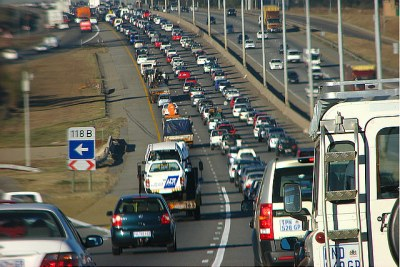 Traffic in Johannesburg.