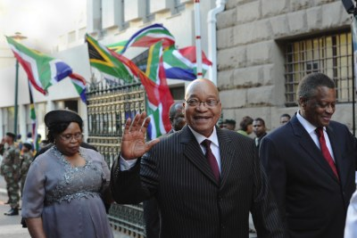 First Lady Makhumalo; President Jacob Zuma and Parliament Speaker Max Sisulu arrive at Parliament to attend the 2012 State Of the Nation Address in Cape Town.