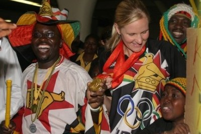 Zimbabwe swimming superpower Kirsty Coventry receiving a heroin welcome. (File Photo)