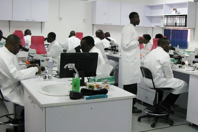 Nigerian lab technicians.