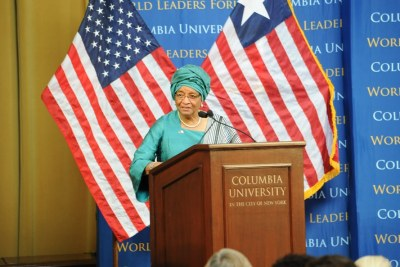 President Sirleaf addresses students at Columbia University