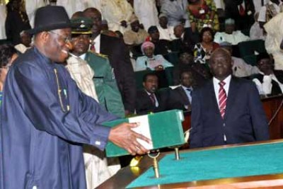 President Goodluck Jonathan Following the delivery of his 2013 budget