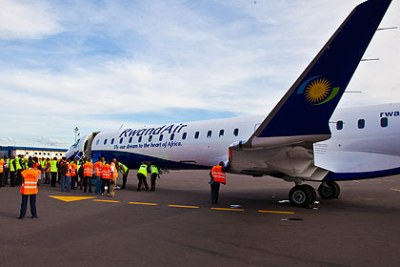 The newly acquired CRJ900 jet upon arrival at Kigali International Airport: The new Canadian Regional Jet (CRJ) is the first of its kind to operate in the east and central African sky, according to the manufacturer.