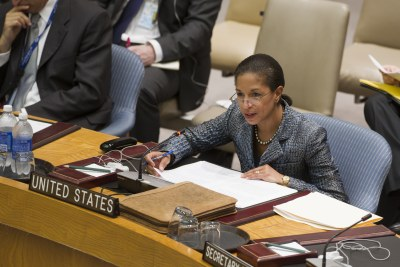 Susan Rice, permanent representative of the United States to the United Nations and co-leader of the mission delegation, addresses the UN Security Council.
