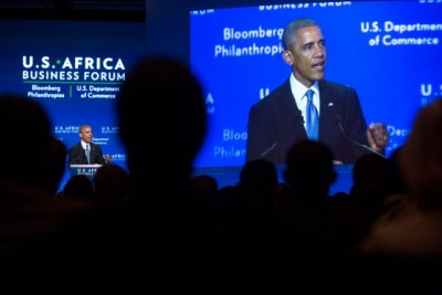 President Obama addressing the U.S.-Africa Business Forum.