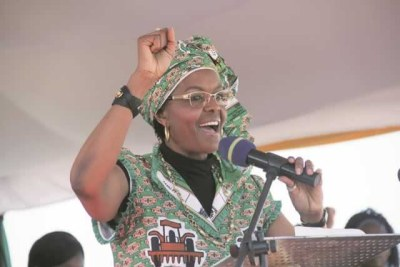 The First Lady Amai Grace Mugabe addresses Zanu-PF supporters at the ground-breaking ceremony of a housing project in Kadoma.