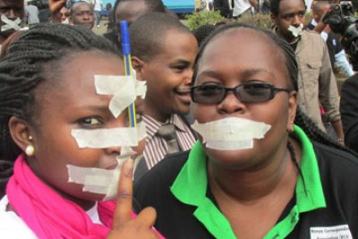 Journalists protest government censorship (file photo).