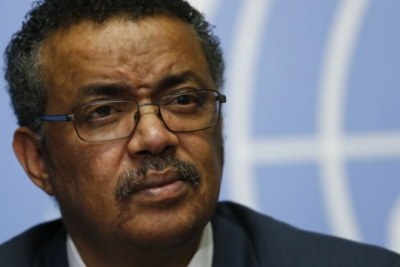 Dr. Tedros Adhanom Ghebreyesus speaking at a press conference in Geneva launching his candidacy to head the World Health Organization (WHO).