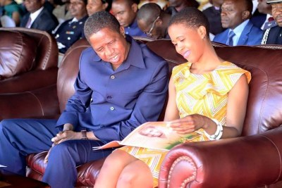 President Edgar Lungu and his daughter Tasila Lungu (file photo).