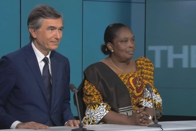 France's Philippe Douste-Blazy, a former health, culture, and foreign affairs minister and Liberia's Minister of Health Bernice Dahn