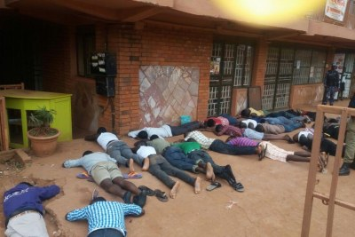The striking students from Douglas Villa hostel ordered to lie down low like the police.