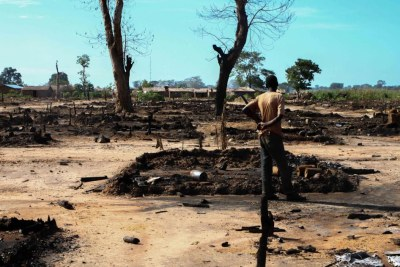 A man checks his burnt farm (file photo).