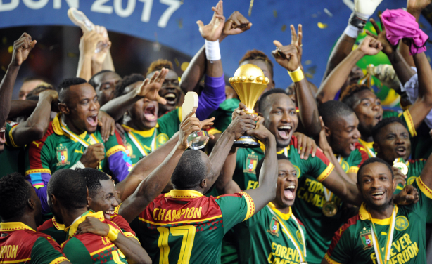 Cameroon celebrates winning the finals of the Africa Cup of Nations 2017 in Gabon.