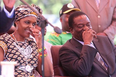 First Lady Grace Mugabe and Vice President Emmerson Mnangagwa (file photo).