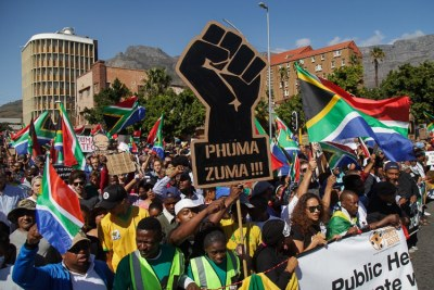 An anti-Zuma protest in Cape Town.