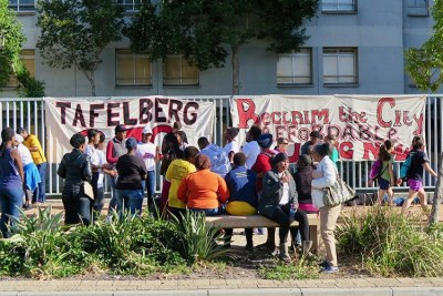 Protesters demonstrate against the decision not to use the Tafelberg school site for affordable housing.