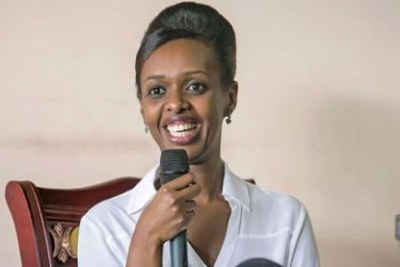 Diane Shima Rwigara at a Press briefing in Kigali on May 3, 2017 when she announced her plans to run for Rwandan presidency in the August 4 polls.