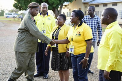 The government chief whip Ruth Nankabirwa greeted by President Museveni at Kyankwanzi.