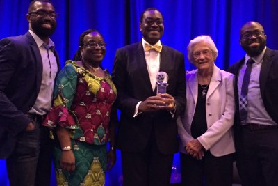 African Development Bank Group (AfDB) President Dr. Akin Adesina and his family at the Global Child Nutrition Foundation's 2017 Annual Gala Reception in Washington, DC, June 13, 2017. Dr. Adesina was the recipient of Gene White Lifetime Achievement Award. The award was created to honor individuals who have made outstanding contributions toward the worldwide dream of ending childhood hunger.