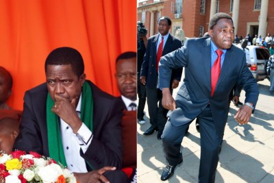 President Edgar Lungu and opposition leader Hakainde Hichilema (file photo).