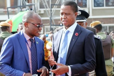 President Edgar Lungu and his spokesperson Amos Chanda (file photo).