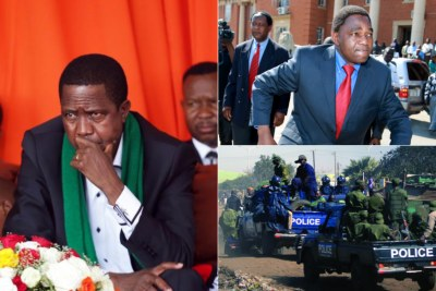 President Edgar Lungu, opposition politician Hakainde Hichilema and Zambian police (file photo).