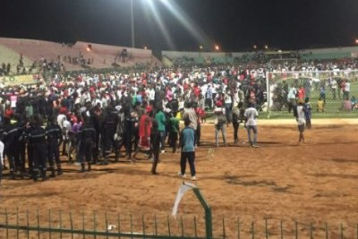 The scene at Demba Diop stadium where a wall collapse, brawls between fans of rival clubs Ouakam and Stade de Mbour and a stampede resulted in eight deaths and 49 people suffering serious injuries.