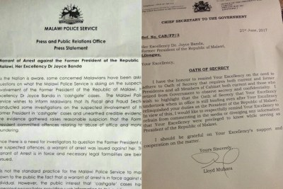 Arrest warrant and 'secrecy' letter sent to former President Joyce Banda by the current Malawi government.