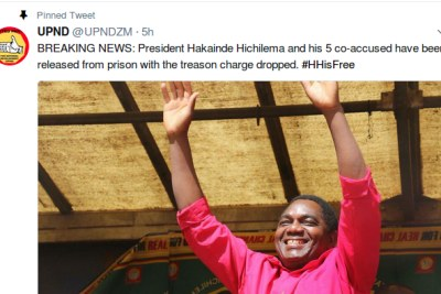 The opposition United Party for National Development (UPND) confirmed the news in a tweet.