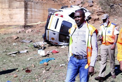 Thomas Mxolisi Kaunda, the KwaZulu-Natal MEC for Transport, Community Safety and Liaison, at the scene of the minibus crash.