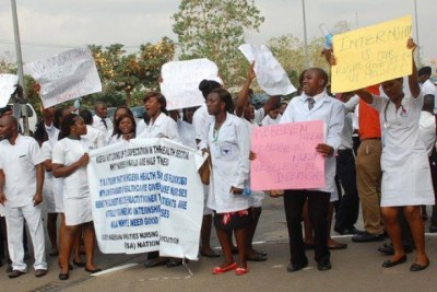 A protest by Nigerian health workers.