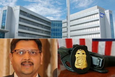 Top: SAP headquarters in Walldorf, Germany. Bottom-left: Atul Gupta. Bottom-right: FBI badge and gun.