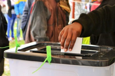A voter casts their ballot in the October 26 presidential poll.