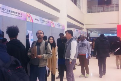 Job fair at the University of International Business and Economics  in Beijing, China that brought African students face-to-face with executives of over 60 Chinese firms looking to potentially hire Africans who are prospective graduates of Chinese universities.