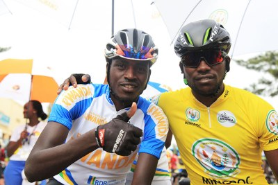Tour du Rwanda 2017 winner Joseph Areruya (L) and compatriot Valens Ndayisenga gave glowing tribute to the race that has been won by Rwandans since 2014.