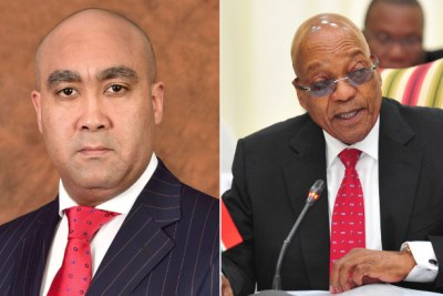 Left: Prosecuting Chief Shaun Abrahams. Right: President Jacob Zuma.
