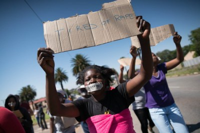 Women from Durban Deep protest against gender-based violence and police inaction in December 2017.