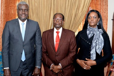 From left Chairperson of the AU Commission Moussa Faki Mahamat, former president Robert Mugabe and his wife Grace Mugabe (file photo).