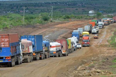 Vehicles along the Nairobi-Mombasa highway.