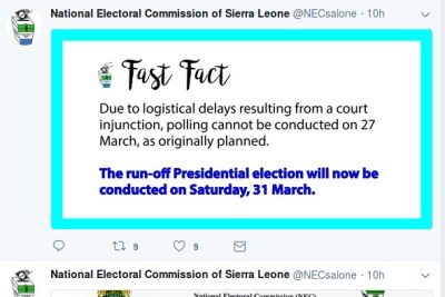 Announcement by the Sierra Leone election commission.